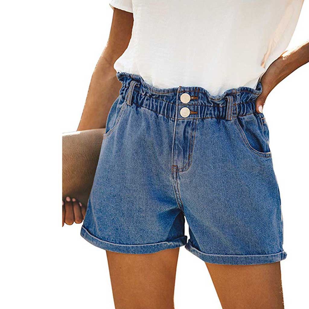Jeans Woman Shorts Summer Mid Waist Solid Button Fly Pocket Zipper Cuffs Pleated Fashion Casual Denim Pants Jeans Mujer OY41*
