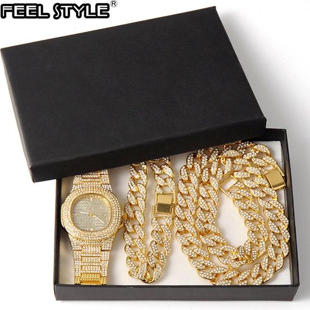 Oro Hip Hop Miami Curb cadena cubana con piedras de imitación incrustadas CZ Bling rapero collar de oro + reloj + pulsera de joyería para hombres 1