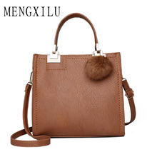 Women Shoulder Bags Luxury Handbags Women Bags Designer Quality Scrub Leather Messenger Bag Hairball Women Bag Bolsa Feminina стоимость