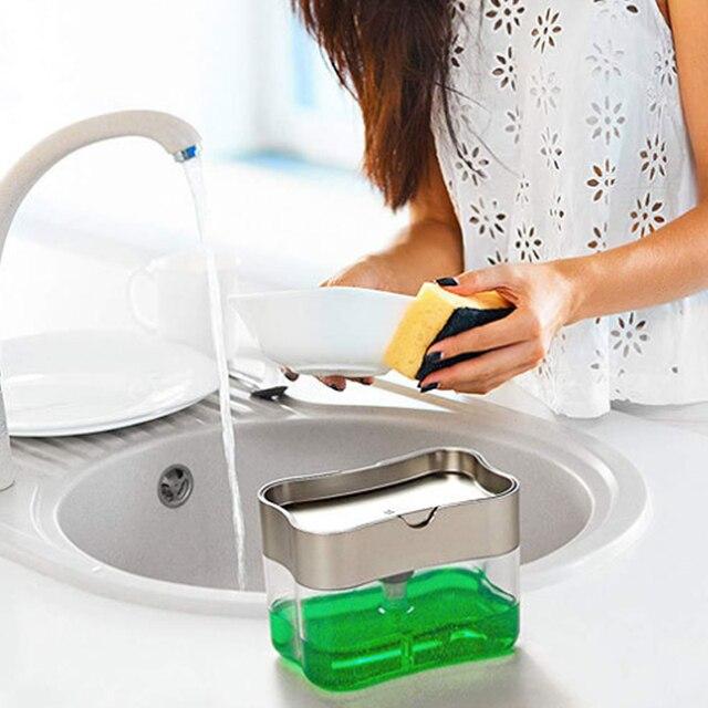 Soap Dispenser Soap Pump Sponge Caddy New Creative Kitchen 2-in-1 Manual Press Liquid Soap Dispenser With Washing Sponge Home Decor & Toys