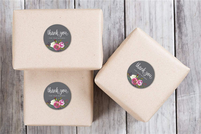 Купить с кэшбэком 500Pcs Round Floral Thank You for Your Business Stickers 1inch Color Flower handmade Stickers Envelope Seal stationery sticker