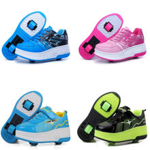 EUR 28-43 NEW Children Junior Roller Skate Shoes Kids Sneakers With Two heelies Boys Girls Wheels Shoes Adult Casual boys Shoes(China)