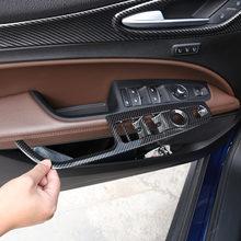 Akcesoria samochodowe dla Alfa Romeo Stelvio 2017 2018 2019 ABS przycisk podnoszenia okna z włókna węglowego osłona ramy naklejki samochodowe towary dla LHD