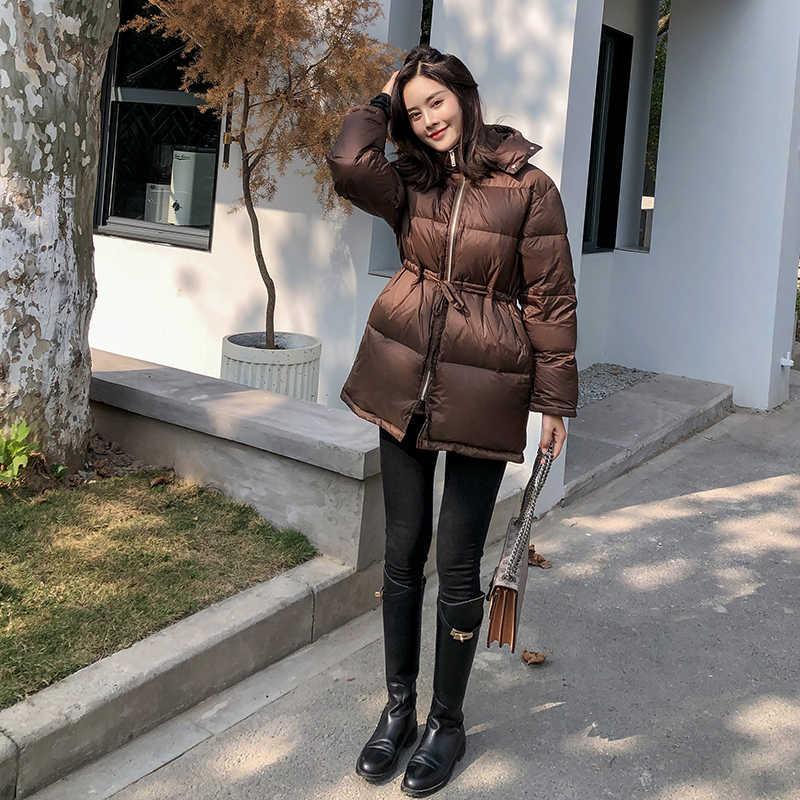 Damska kurtka puchowa w koreańskim stylu na zimę ocieplana kurtka z kapturem bąbelkowa kurtka z puchu kaczego kobiety Chaqueta Mujer Invierno KJ3701