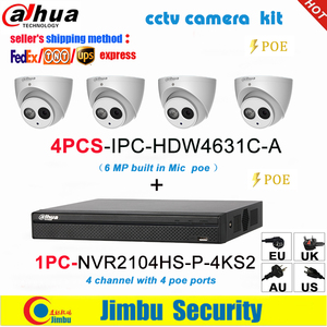 Image 1 - Dahua IP surveilliance system NVR kit  4CH 4K video recorder NVR2104HS P 4KS2 & Dahua 6MP IP camera 4pcs IPC HDW4631C A
