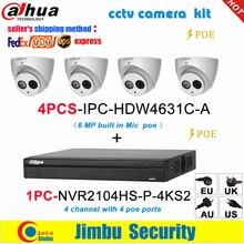 Dahua sistema de vigilancia IP, NVR, 4 canales, 4K, grabador de vídeo, NVR2104HS P 4KS2 y Dahua, cámara IP de 6MP, 4 Uds., IPC HDW4631C A