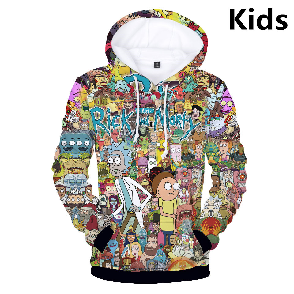 3 To 14 Years Kids Hoodies Rick And Morty 3D Printed Hoodie Sweatshirt Boys Girls Long Sleeve Jacket Coat Children Clothes