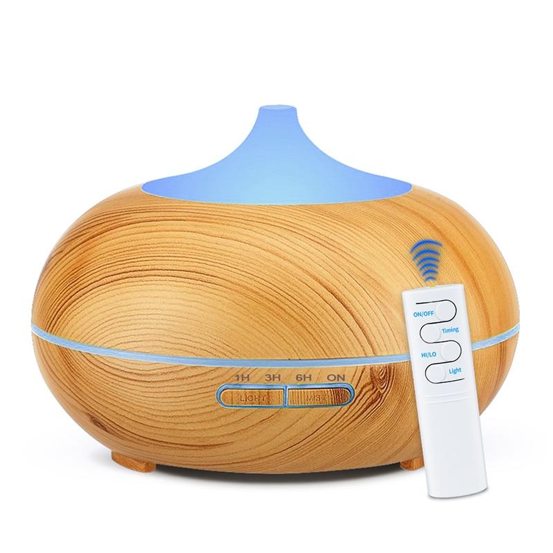 550 ml de controle remoto aroma difusor aromaterapia grão de madeira difusor do óleo essencial ultra-sônico umidificador névoa fria para casa