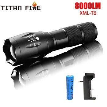 Linterna recargable T20 Q250, 8000LM, 5 modos con zoom, resistente al agua,...