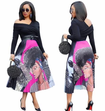 The Upcoming Spring 2019 African Cartoon Pattern High Stretch Pleated Skirt High Street Style A-line Skirt Midcalf Christmas