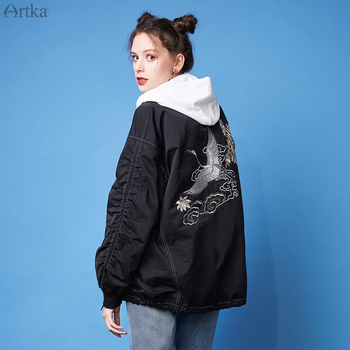 ARTKA 2020 Spring New Women Jacket Vintage Embroidery Oversize Coat Casual Bomber Jackets Women Baseball Jacket Outwear WA20209C цена 2017