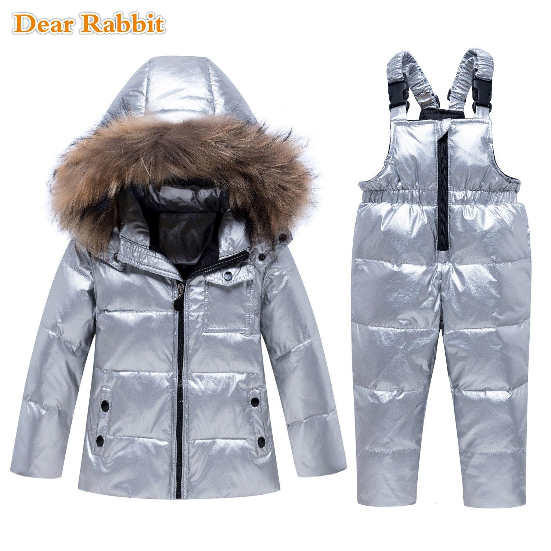 Парка зимний тонкий пуховик с натуральным мехом для маленьких мальчиков и девочек теплое Детское пальто детский лыжный комбинезон комплект водонепроницаемой одежды серебристого цвета