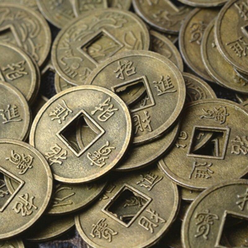 1pc/100 pçs antigo fortuna dinheiro moeda sorte fortuna riqueza feng shui chinês sorte ching/moedas antigas educacional dez imperadores
