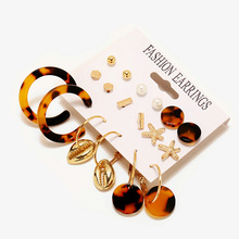 CHENFAN earrings for women Creative Metallic Acrylic Stud Earrings 5 Pairs Set 2019 fashion jewelry earing