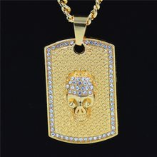 Punk Style Men's Skull Square Pendant Necklaces Hip-Hop Halloween Party Jewelry