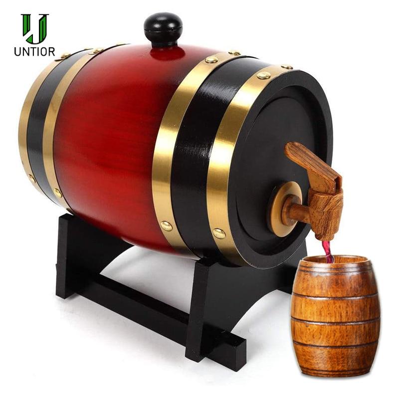 UNTIOR 1.5/3L Wood Barrel Vintage Oak Beer Brewing Tools Tap Dispenser For Rum Pot Whisky Wine Mini Keg Bar Home Brew Beer Keg