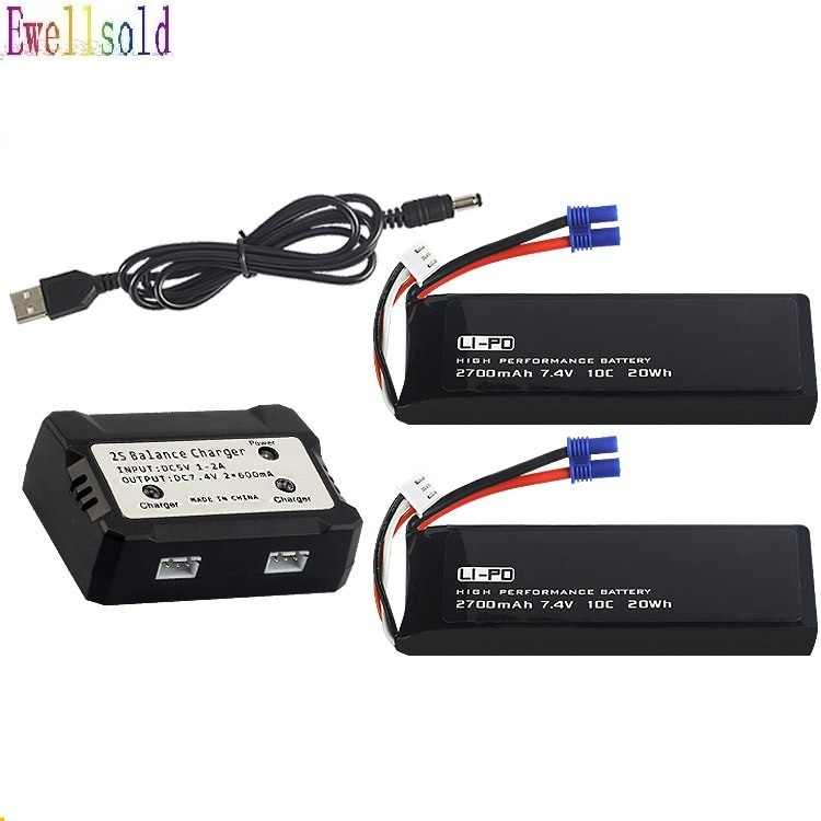 Ewellsold 7.4V 2700mAh lipo battery 10C 20WH batter/ charger For Original H501C H501S X4  RC Quadcopter Parts  7.4 v 2700 mah