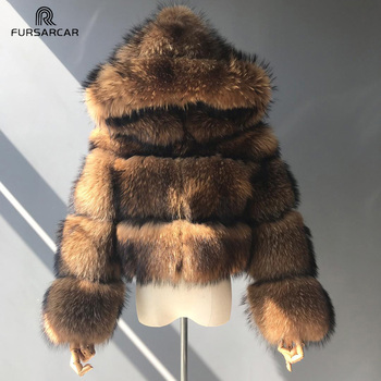 TOPFUR Luxury Real Women Silver Gold Fox Fur Coats With Hood Jacket Fashion Female Winter Thick Warm Genuine Outerwear