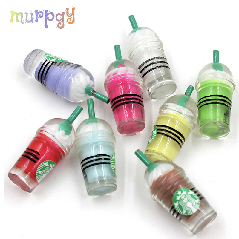 Coffee Straw Cup For Slime Addition Resin Charms Filler All Food Ice Cream Polymer Clay Slime Accessories Toys Kit For Children
