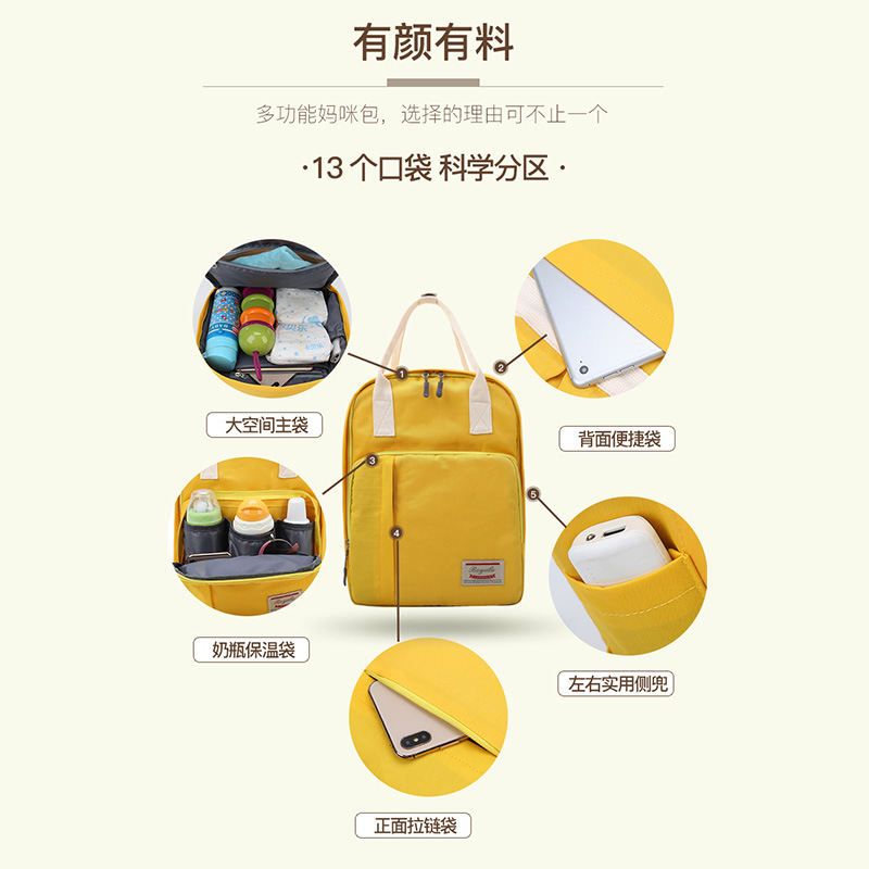 2019 New Style Fashion MOTHER'S Bag Backpack Western Style Versatile Multi-functional Large-Volume Nursing Diaper Bag