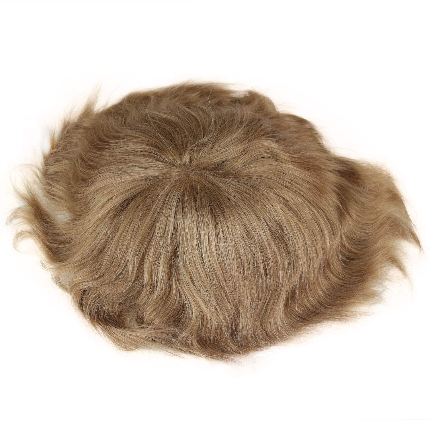 """Men's Toupee Swiss Mono Lace Thin Skin Hairpiece wigs Replacement System for Men #21 Ash Blonde Color European Human Hair 10x8"""""""