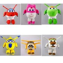 Новые плюшевые игрушки Super Wings, Мультяшные суперкрылья, самолет, робот, Донни мира Джетт, большой Альберт пол Белло, куклы, 6 шт./лот, 20 см