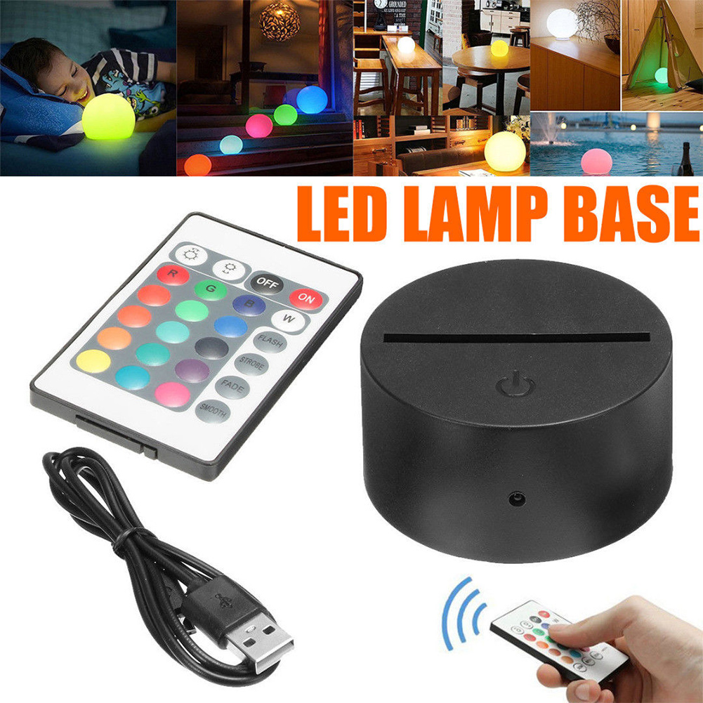 Colorful LED Lamp Touch Switch Remote Control Modern Black USB Cable Night Light Acrylic 3D LED Night Lamp Assembled Base #63