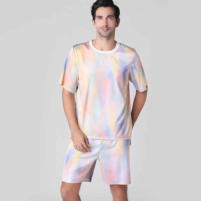 Chinese Male Print Satin Pamamas Suit Novelty Vintage Men Satin Pijamas Set Dragon Sleepwear Home Wear Shirt&Shorts Nightwear