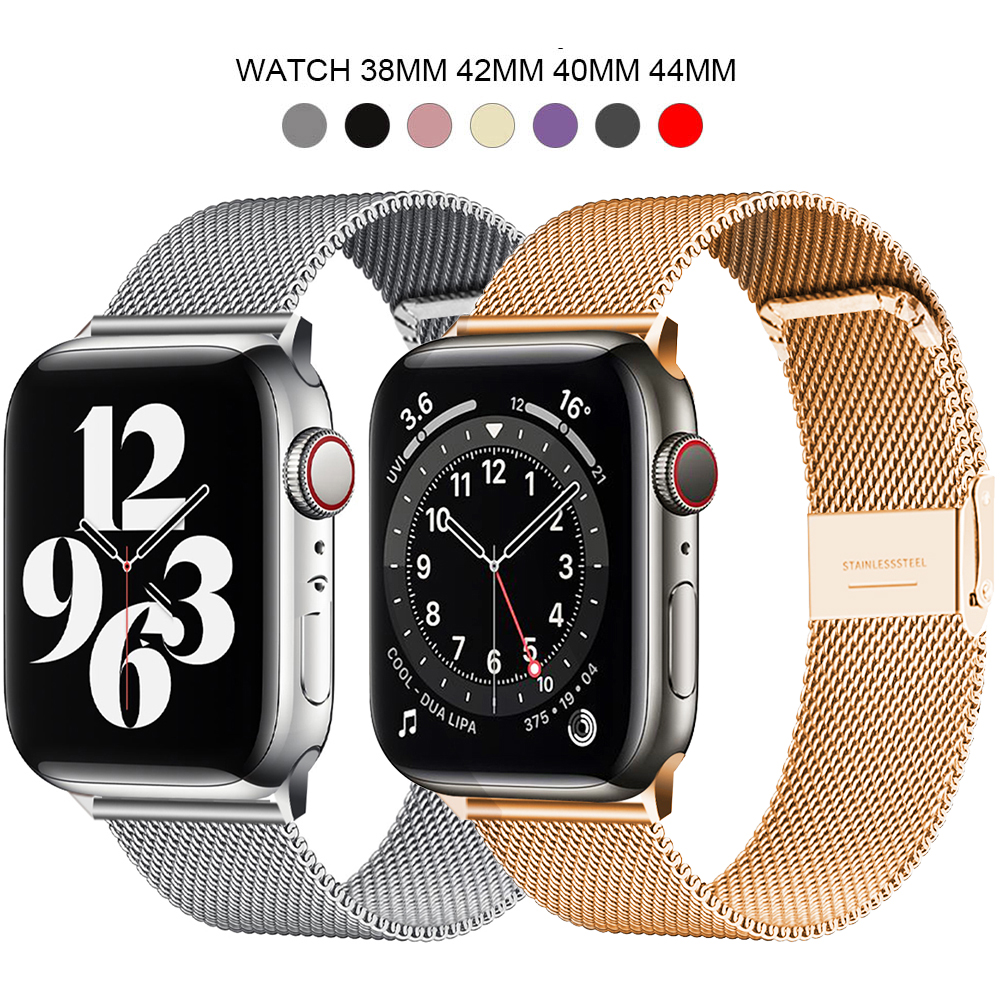Milanese Stainless Steel Metal for apple watch Watchband 38mm 40mm 42mm 44mm Band Strap for iwatch Bracelet series 6 SE 5 4 321