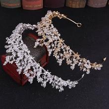 FORSEVEN Luxury Handmade Rhinestone Crystal Crown Tiaras Bridal Headbands Women Wedding Hair Jewelry Accessories JL