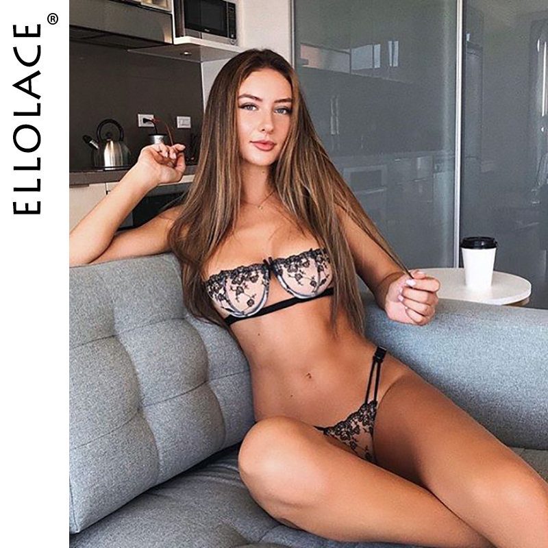 Ellolace Mesh Sexy Embroidery   Bra   Underwear   Set   Lingerie Transparent Bralette and Thong Women Deep V Brassiere   Sets   Black White