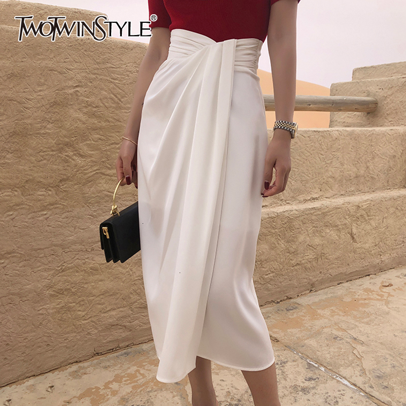 TWOTWINSTYLE Vintage Irregular Side Split Skirt Women High Waist Asymmetrical Ruched Skirts For Female Fashion 2019 Clothing New