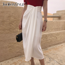 TWOTWINSTYLE Vintage Irregular Side Split Skirt Women High Waist Asymmetrical Ruched Skirts For Female Fashion 2020 Clothing New