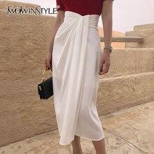 TWOTWINSTYLE-falda con abertura lateral Irregular para mujer, faldas fruncidas asimétricas de cintura alta para mujer, moda 2020