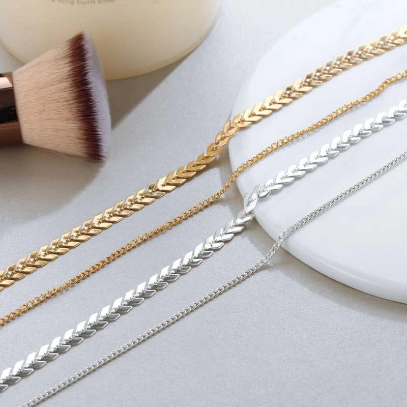 זהב ארוך להתנדנד שרשרת לנשים תכשיטים דגי עצם שרשרת תכשיטי בוהמיה קישוטי קולר שרשראות Pendientes