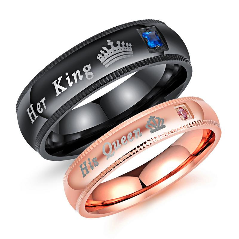 Simple Couple Rings Her King & His Queen Crown Charm Letter Zircon Ring For Women Men Exclusive Couple Wedding Ring Lover Gift 1