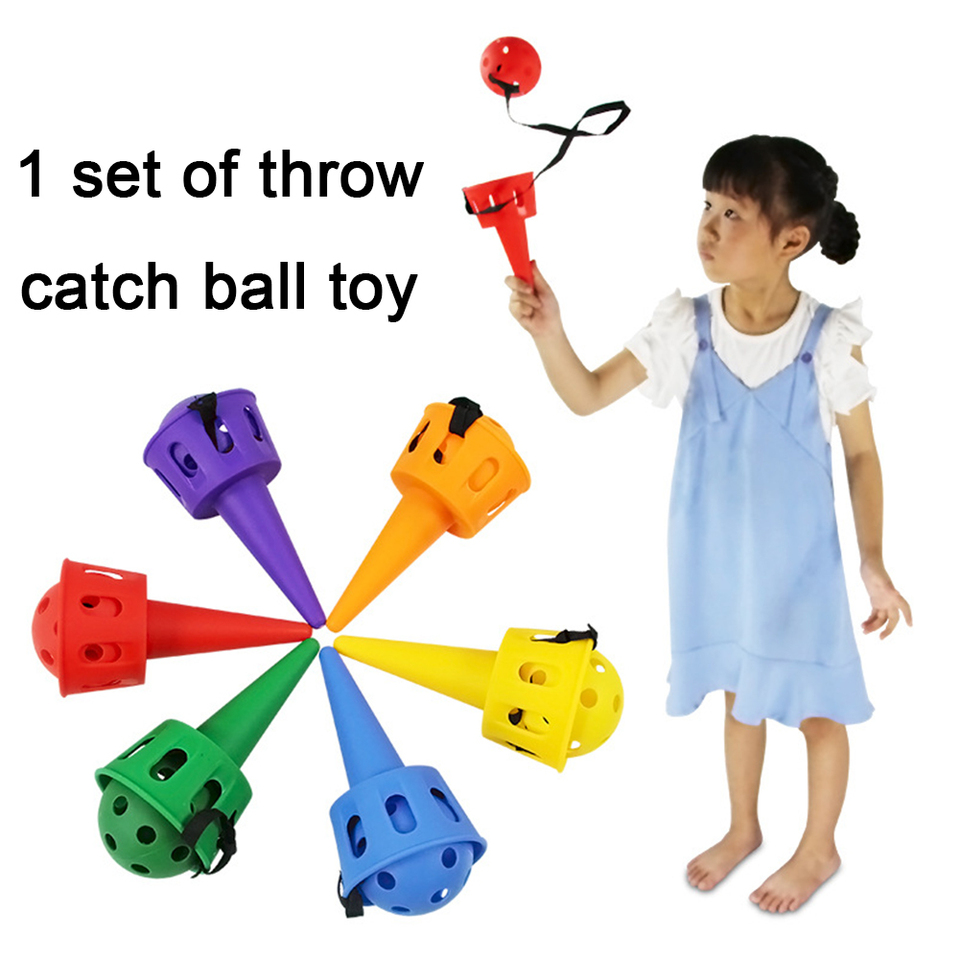 Ball Cup Toy Set Children Outdoor Throw Catch Game Garden With Rope Activity Fun