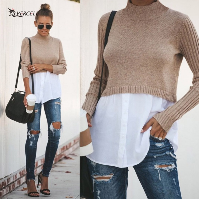SILVERCELL 2019 New Women Sweater Autumn Winter Solid Slim Wild Tops Long Sleeve Turtleneck Casual Knit Stitching Sweater