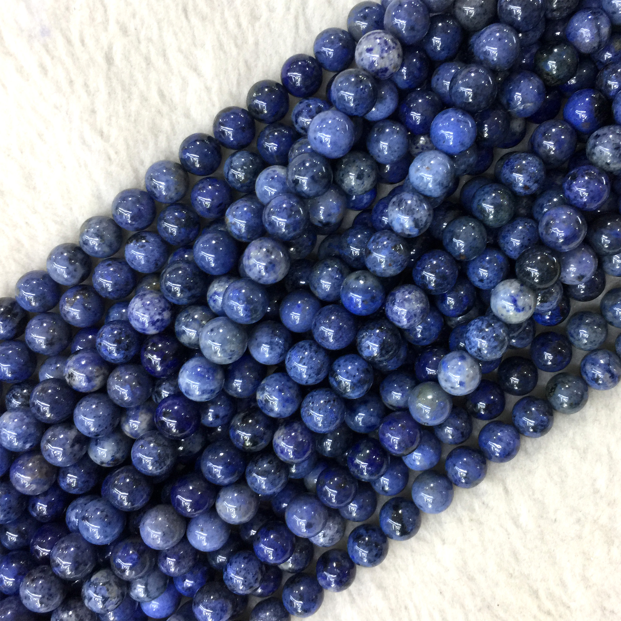 Natural Genuine Blue Black Dot Dumortierite Round Loose Beads 4mm 6mm 8mm 10mm 12mm 06209