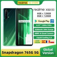 Globalna wersja Realme X50 5G Smartphone 6GB/8GB 128GB Snapdragon 765G 6.57 ''120Hz wyświetlacz 48MP Quad tylne kamery 30W 4200mAh