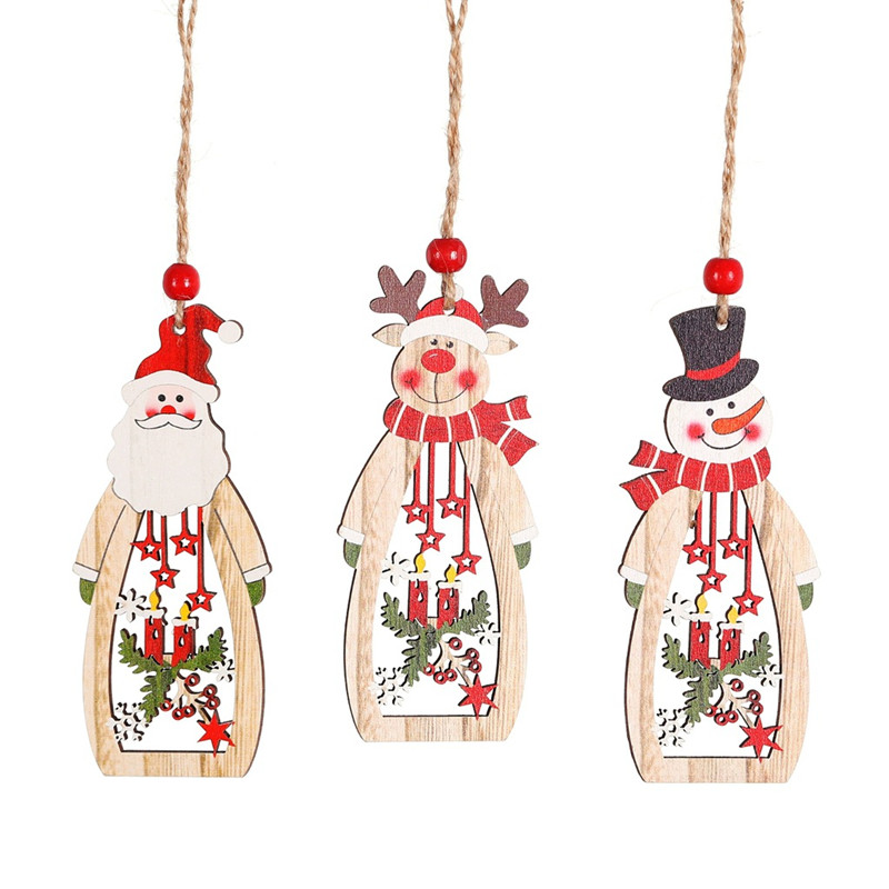 1PC Christmas Snowman Santa Claus Elk Wooden Pendants Ornaments Xmas Tree DIY Wood Crafts Kids Gift For Home Party Decorations