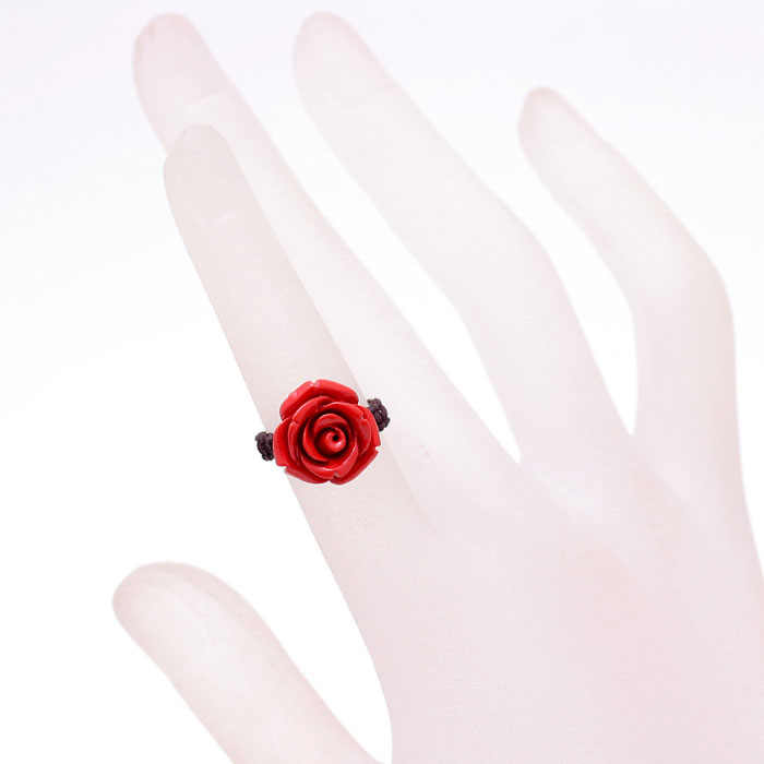 จีนสีแดงธรรมชาติอินทรีย์ Cinnabar Rose แหวนเครื่องประดับ Charm แฟชั่นผู้ชายผู้หญิง Lucky Amulet ของขวัญใหม่ที่กำหนดเอง