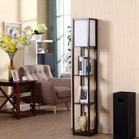 Decorativa moderna de madeira  lâmpada de chão preto ou branco  luz de pé com prateleira de armazenamento para casa  sala de estar e sala de estar