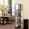 Moderne LED Dekorative Holz Loft Boden Lampe Schwarz Weiß Standing Licht mit Tisch Lagerung Regal für Home Wohnzimmer Schlafzimmer-in Stehleuchten aus Licht & Beleuchtung bei