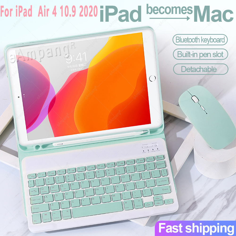 For iPad Air4 10 9 2020 A2324 A2072 Keyboard Mouse Case English Russian Spanish Korean Keyboard