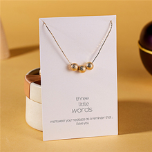 Ailodo Three Gold Ball Pendant Necklace Women Make a Wish Gift Card Collier Fashion Jewelry Birthday LD247