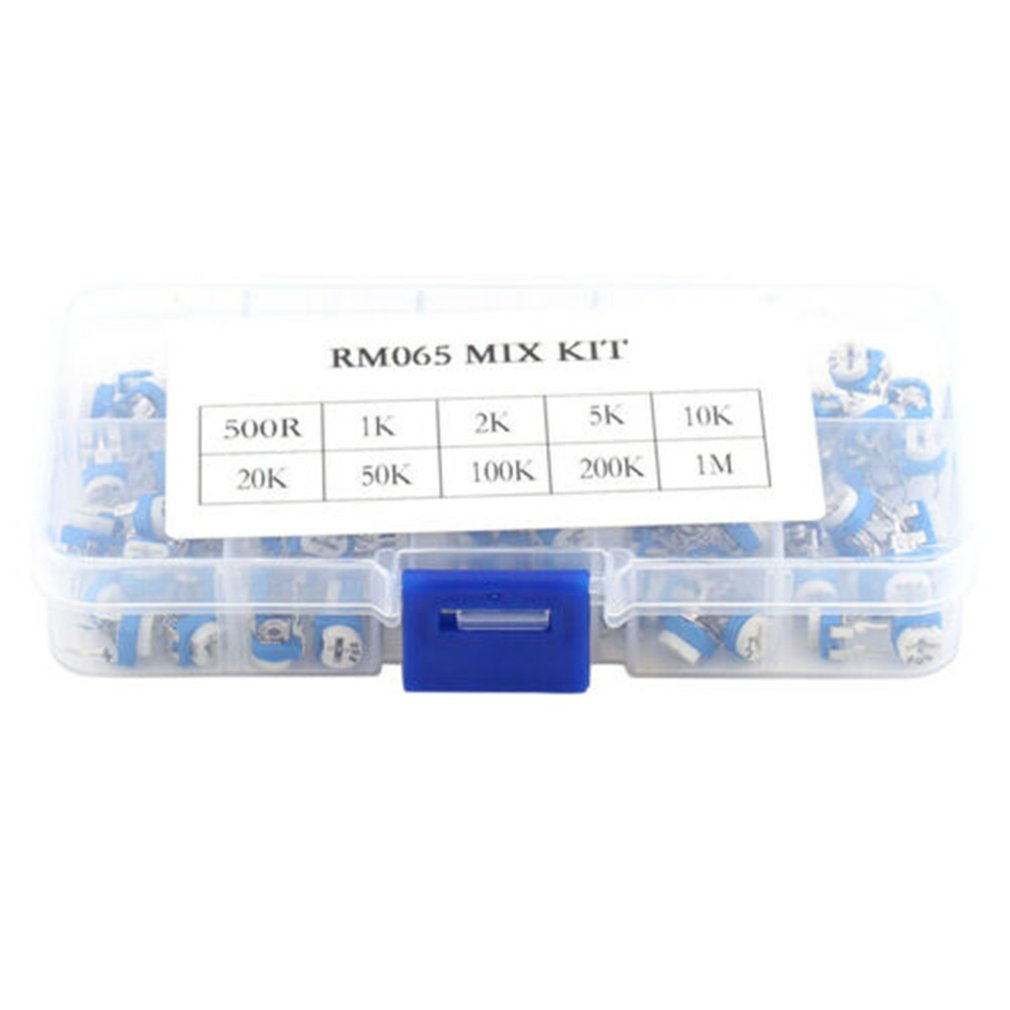 100Pcs RM065 Trimpot Potentiometer Assortment Kits 10 Values Variable Resistor Vertical Adjustable Resistor Kit