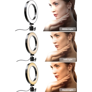 Image 4 - Phone Tripod Holder Clip With Led Ring Light Camera Photography Annular Lamp Studio Ringlight For Youtube Makeup Phone Self