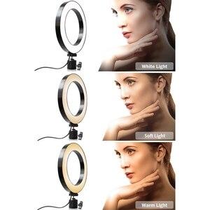 Image 4 - Support de trépied de téléphone avec Led lumière annulaire caméra photographie lampe annulaire Studio Ringlight pour Youtube maquillage téléphone auto
