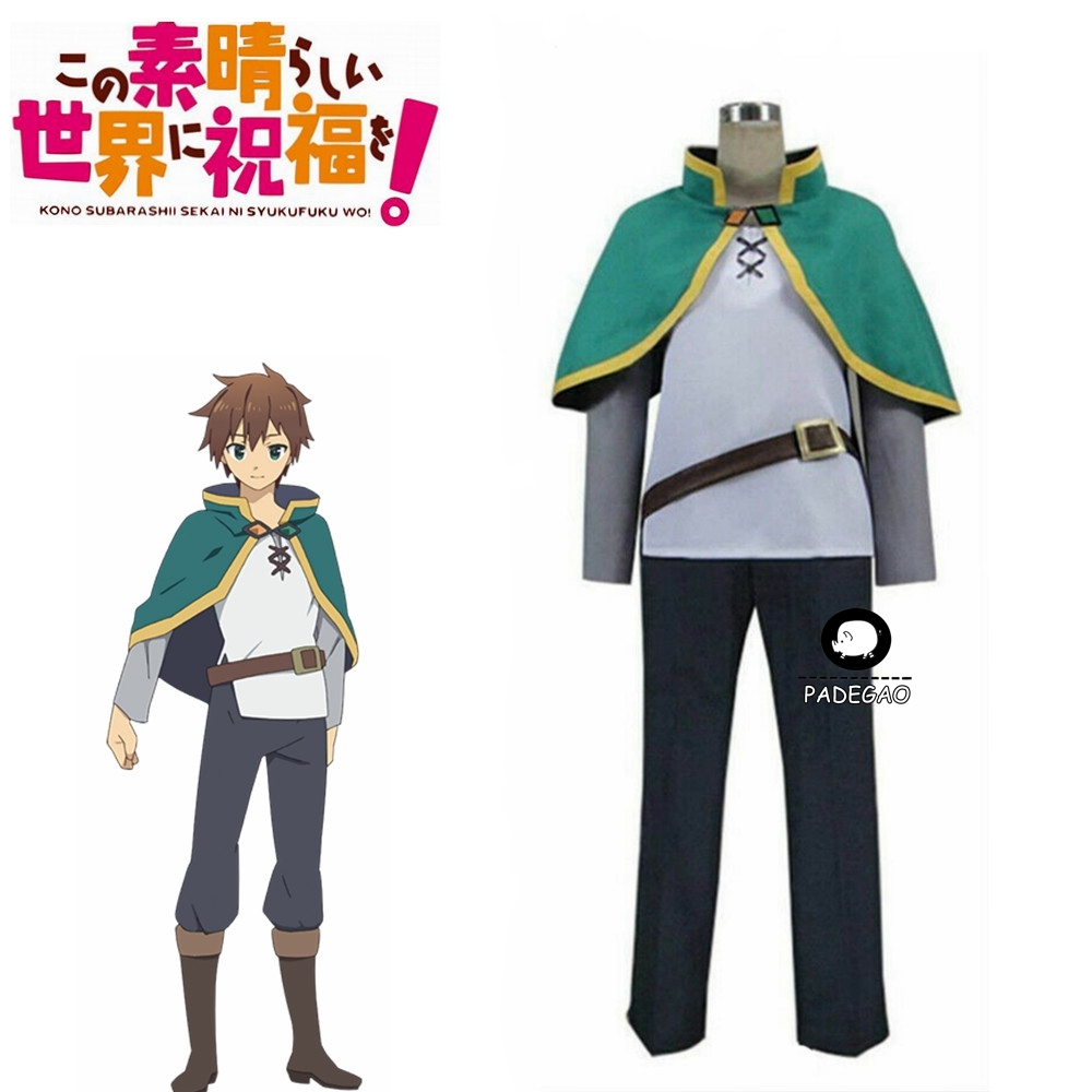 Kono Subarashii Sekai Ni Shukufuku O!  Satou Kazuma KonoSuba Kazuma Cosplay Costume Green Set Clothing